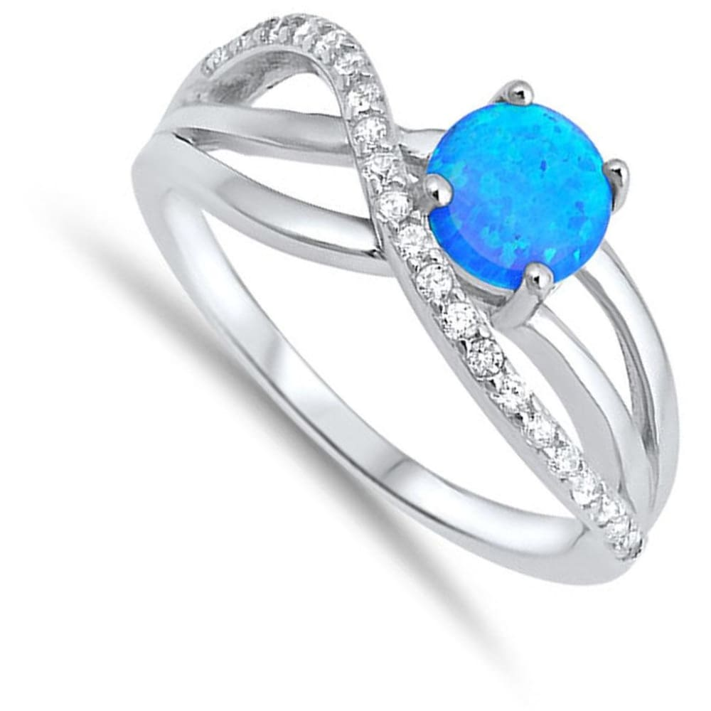 Rings $30.01 Round Blue Lab Opal with Clear CZ Knot Set in Sterling Silver Band Size 5-10 25-50 blue clear cubic-zirconia cz