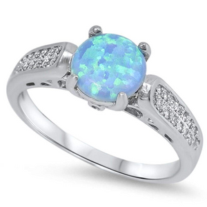 Rings $61 Round Blue Lab Opal with Clear CZ Stones Set in the Sterling Silver Ring Band 50-100, badge-toprated, blue, clear, cubic-zirconia