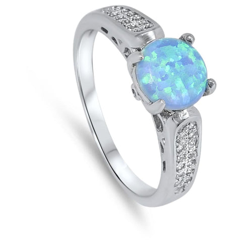 Rings $37.78 Round Blue Lab Opal with Clear CZ Stones Set in the Sterling Silver Ring Band blue clear cubic-zirconia cz opal