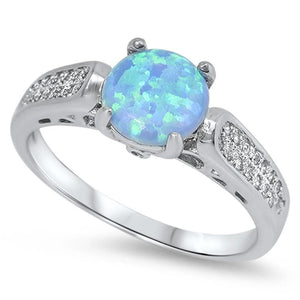 Round Blue Lab Opal with Clear CZ Stones Set in the Sterling Silver Ring Band