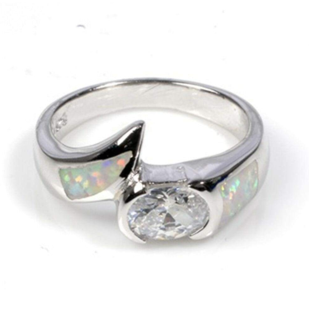Rings $70.14 Round Clear Cubic Zirconia in Bezel Setting and Simulated White Opal in Sterling Silver Band 50-100, badge-toprated, bezel,
