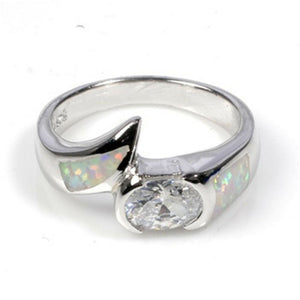 Round Clear Cubic Zirconia in Bezel Setting and Simulated White Opal in Sterling Silver Band
