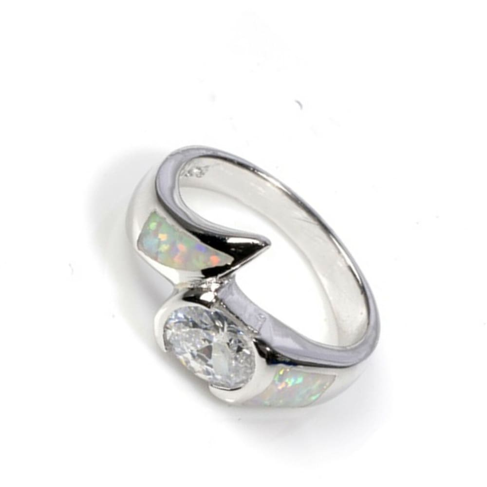 Rings $53.95 Round Clear Cubic Zirconia in Bezel Setting and Simulated White Opal in Sterling Silver Band bezel clear cubic-zirconia cz opal
