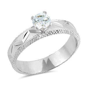 Round Clear Cubic Zirconia Solitaire Ring
