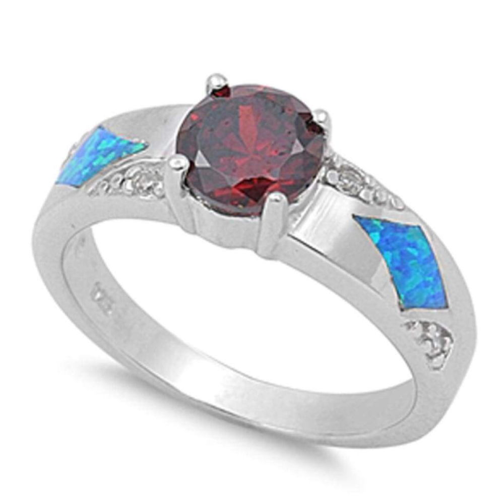 Rings $40.51 Round Garnet CZ Stone and Blue Lab Opal in Sterling Silver Band 25-50, badge-toprated, blue, cubic-zirconia, cz