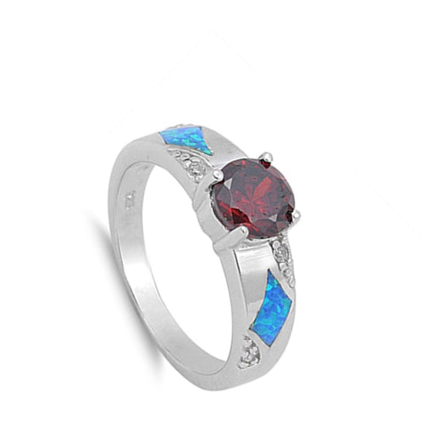 Image of Rings $40.51 Round Garnet CZ Stone and Blue Lab Opal in Sterling Silver Band blue cubic-zirconia cz garnet opal