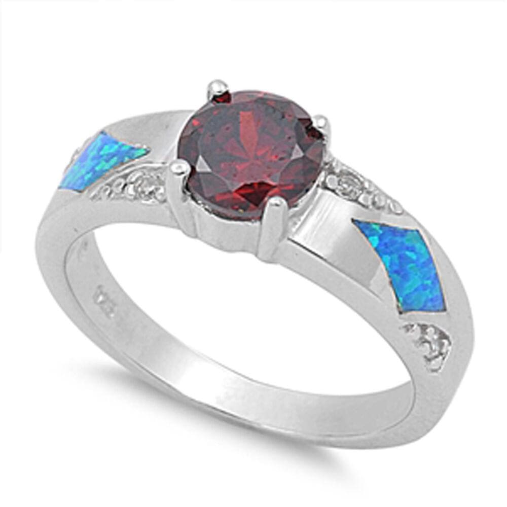 Rings $40.51 Round Garnet CZ Stone and Blue Lab Opal in Sterling Silver Band blue cubic-zirconia cz garnet opal