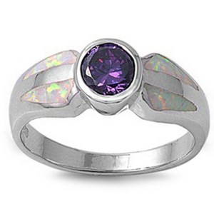 Rings $69.59 Round Simulated Amethyst CZ Stone and White Lab Opal in a Mosaic Pattern Set in Band 50-100, amethyst, badge-toprated,