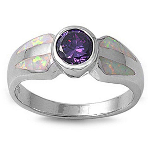 Rings $53.53 Round Simulated Amethyst CZ Stone and White Lab Opal in a Mosaic Pattern Set in Band amethyst cubic-zirconia cz opal round