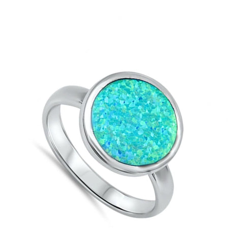 Image of Rings $39.67 Round Sky Blue Opal Set in the Band blue opal round
