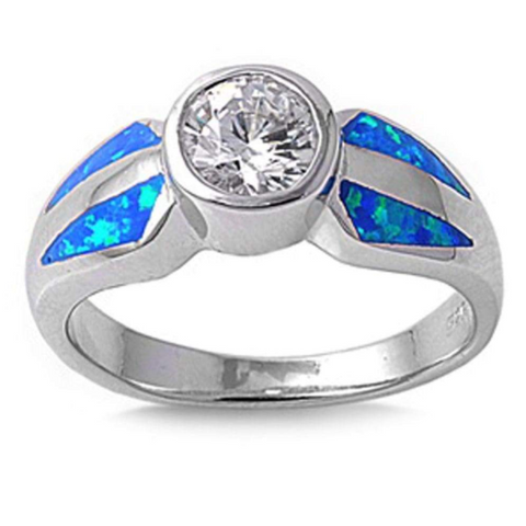 Rings $53.53 Round White CZ Stone Solitaire with Blue Lab Opal Set in the Band 50-100, badge-toprated, blue, cubic-zirconia, cz