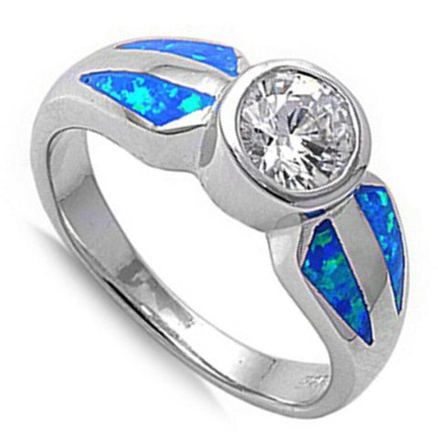 Rings $53.53 Round White CZ Stone Solitaire with Blue Lab Opal Set in the Band blue cubic-zirconia cz opal white