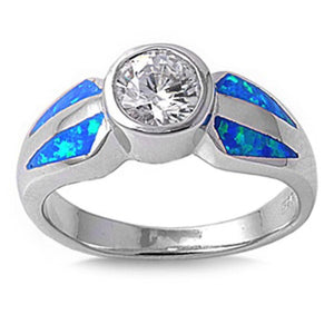 Round White CZ Stone Solitaire with Blue Lab Opal Set in the Band