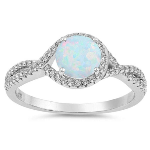 Rings $31.48 Round White Lab Opal and Clear CZ Halo Set in Split Shank Wedding Band 25-50, badge-toprated, clear, cubic-zirconia, cz