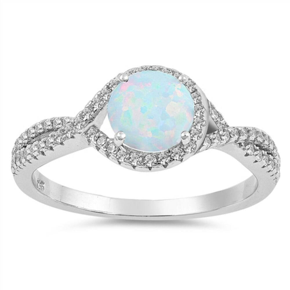 Rings $31.48 Round White Lab Opal and Clear CZ Halo Set in Split Shank Wedding Band clear cubic-zirconia cz halo opal