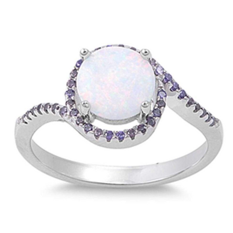 Rings $37.78 Round White Lab Opal Set with a Halo of Amethyst Round CZ Stones in a Sterling Silver Band 25-50, amethyst, badge-toprated,