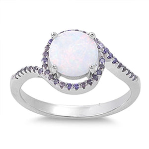 Round White Lab Opal Set with a Halo of Amethyst Round CZ Stones in a Sterling Silver Band