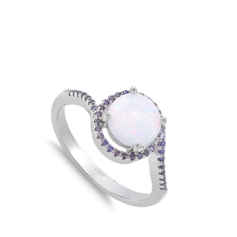 Rings $37.78 Round White Lab Opal Set with a Halo of Amethyst Round CZ Stones in a Sterling Silver Band amethyst cubic-zirconia cz opal