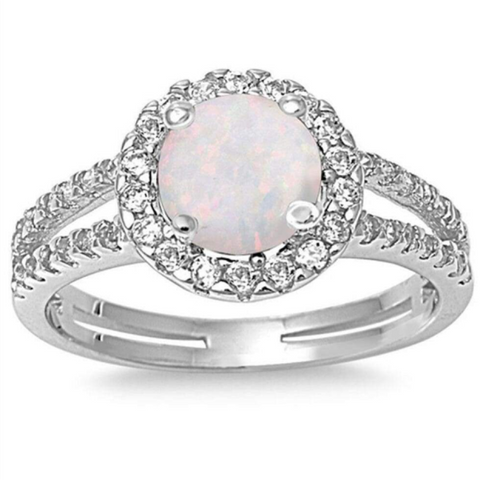 Image of Rings $54.77 Round White Lab Opal with Clear CZ Stone Halo Ring 50-100, badge-toprated, clear, cubic-zirconia, cz