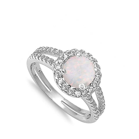 Image of Rings $33.16 Round White Lab Opal with Clear CZ Stone Halo Ring clear cubic-zirconia cz opal round