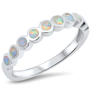 Round White Opal Smooth Inlay in a Stackable Sterling Silver