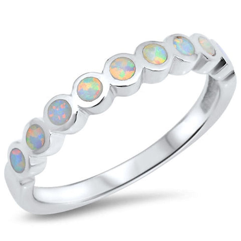 Rings $29.38 Round White Opal Smooth Inlay in a Stackable Sterling Silver 25-50 circle opal rings round