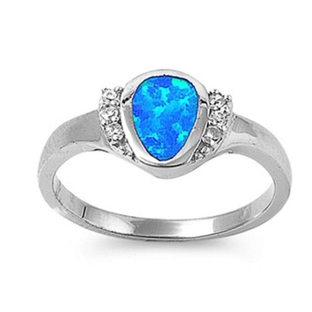 Rings $54.59 Rounded Pear Shape Blue Opal Bezel Set Sterling Silver Ring with Cubic Zirconia 50-100, badge-toprated, blue, clear,