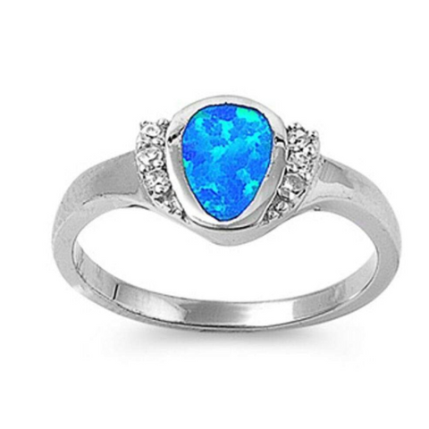Image of Rings $54.59 Rounded Pear Shape Blue Opal Bezel Set Sterling Silver Ring with Cubic Zirconia 50-100, badge-toprated, blue, clear,