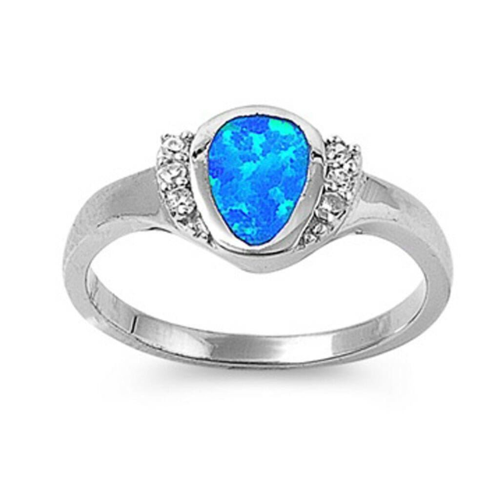 Rings $41.99 Rounded Pear Shape Blue Opal Bezel Set Sterling Silver Ring with Cubic Zirconia blue clear cz er opal