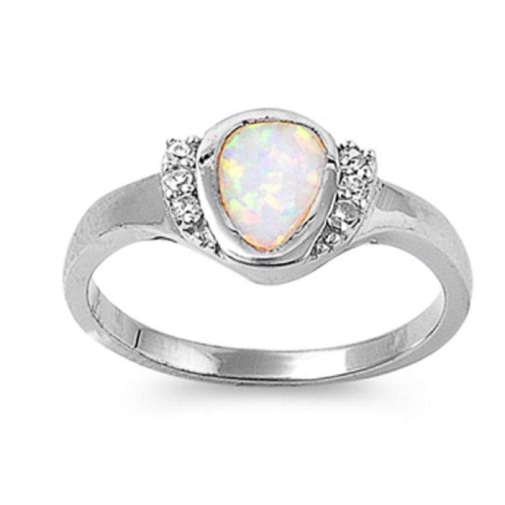 Rings $54.59 Rounded Pear Shape White Opal Bezel Set Sterling Silver Ring with Cubic Zirconia 50-100, badge-toprated, clear, cubic-zirconia,