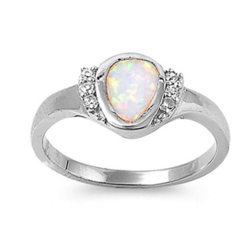 Image of Rings $54.59 Rounded Pear Shape White Opal Bezel Set Sterling Silver Ring with Cubic Zirconia 50-100, badge-toprated, clear, cubic-zirconia,