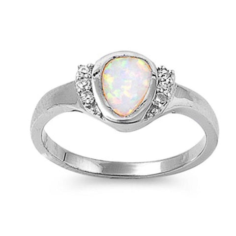 Image of Rings $41.99 Rounded Pear Shape White Opal Bezel Set Sterling Silver Ring with Cubic Zirconia clear cz er opal white