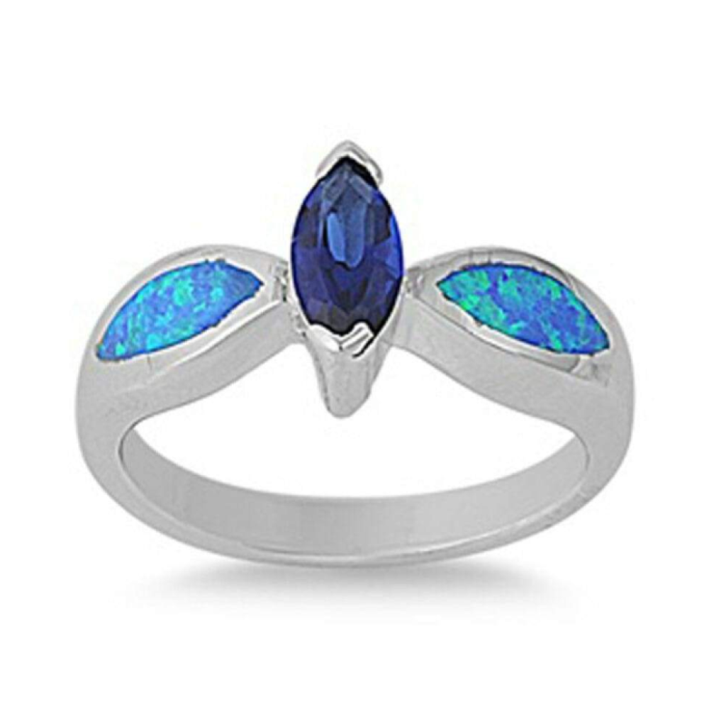Rings $62.39 Sapphire Blue Marquise Cubic Zirconia and Blue Opal Sterling Silver Ring 50-100, badge-toprated, blue, clear, cubic-zirconia