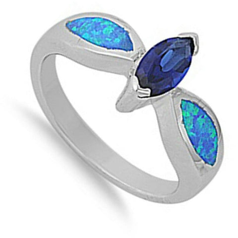 Image of Rings $47.99 Sapphire Blue Marquise Cubic Zirconia and Blue Opal Sterling Silver Ring blue clear cz opal