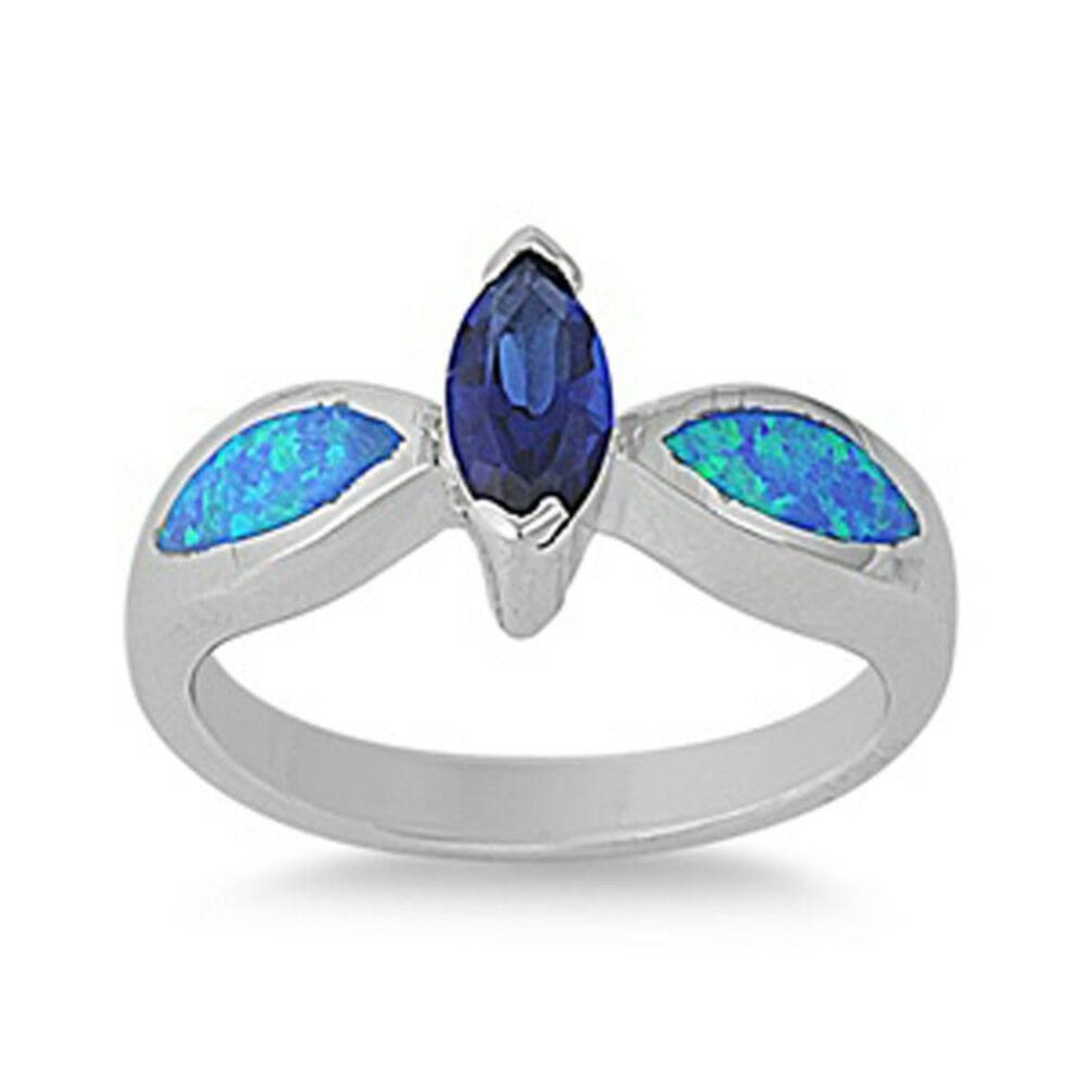 Rings $47.99 Sapphire Blue Marquise Cubic Zirconia and Blue Opal Sterling Silver Ring blue clear cz opal