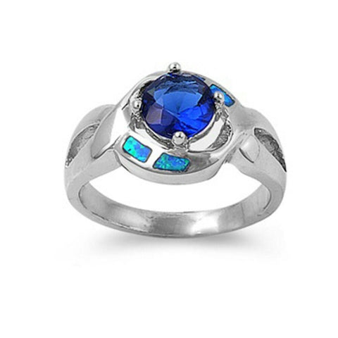 Image of Rings $48.70 Sapphire Blue Stone in a Stylish Criss Cross Sterling Silver Band with Blue Lab Opal Set in Band blue opal sapphire