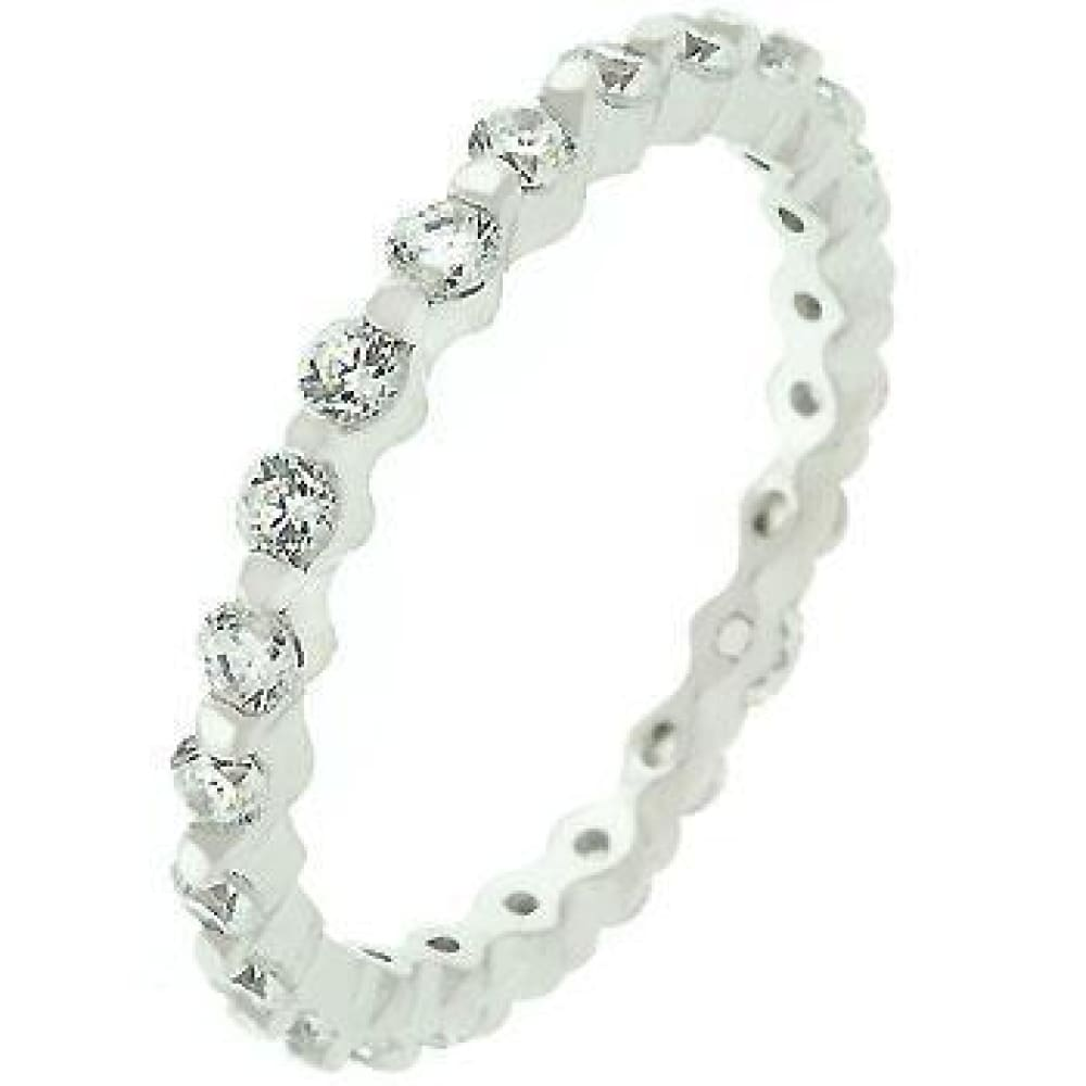 Rings $42.40 Silver Lace Eternity Sterling Silver Cubic Zirconia 2.5mm Band JGI band cz eternity rhodium