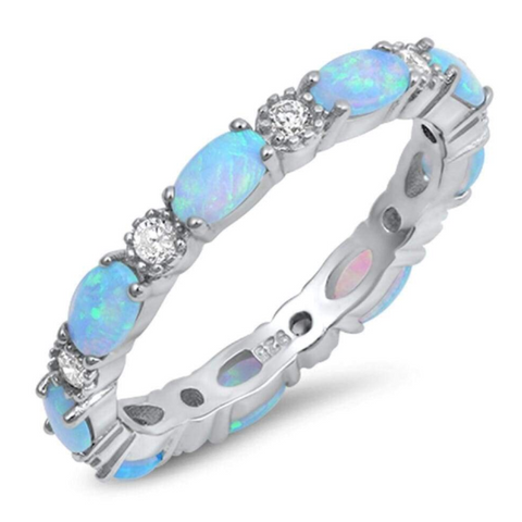 Image of Rings $43.99 Smooth Oval Blue Opal and Round CZ Eternity Band in Sterling Silver 25-50, badge-toprated, band, blue, clear