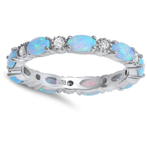 Rings $43.99 Smooth Oval Blue Opal and Round CZ Eternity Band in Sterling Silver band blue clear cz eternity