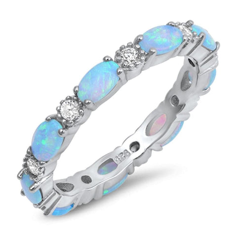 Image of Rings $43.99 Smooth Oval Blue Opal and Round CZ Eternity Band in Sterling Silver band blue clear cz eternity