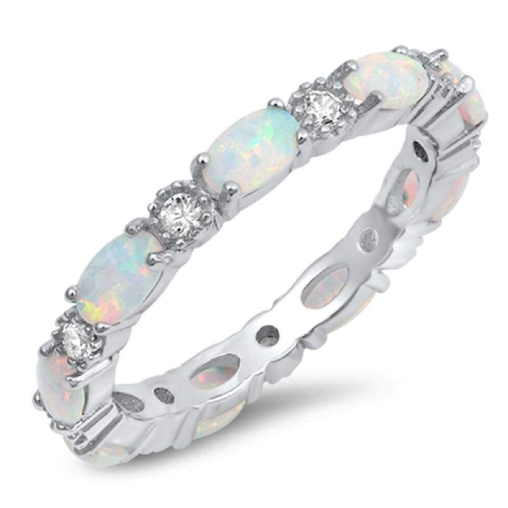 Rings $43.99 Smooth Oval White Opal and Round CZ Eternity Band in Sterling Silver 25-50, badge-toprated, band, clear, cubic-zirconia