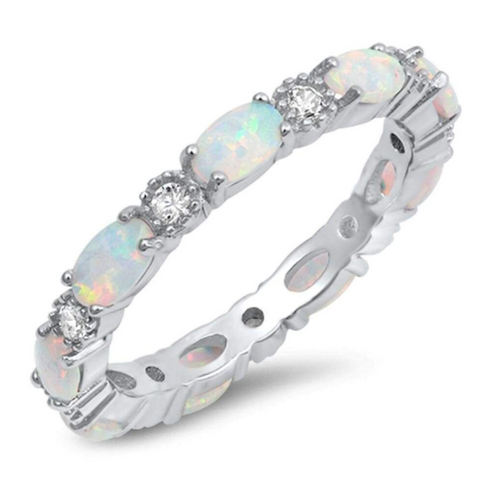 Image of Rings $43.99 Smooth Oval White Opal and Round CZ Eternity Band in Sterling Silver 25-50, badge-toprated, band, clear, cubic-zirconia