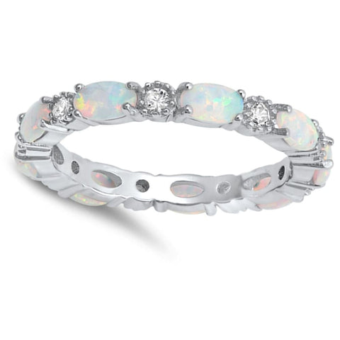 Image of Rings $43.99 Smooth Oval White Opal and Round CZ Eternity Band in Sterling Silver band clear cz eternity opal
