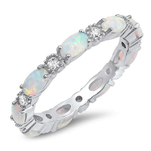 Smooth Oval White Opal and Round CZ Eternity Band in Sterling Silver