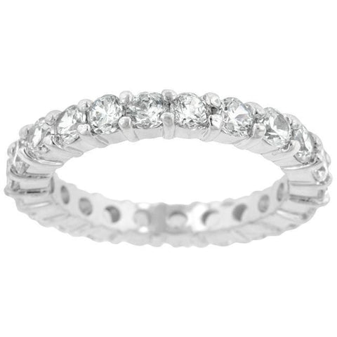 Image of Rings $48.90 Sparkling Eternity Band 2.5Mm Band Jgi Band Cz Eternity Rhodium