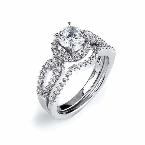 Rings $132.00 Split Shank 4 Prong 1 Carat Cubic Zirconia Engagement Ring with Curved Matching Band Bridal Sets er feminine premium rhodium