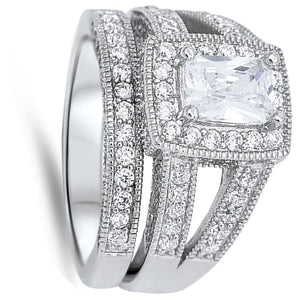 Split Shank Emerald Cut Cubic Zirconia Halo Engagement Ring Set