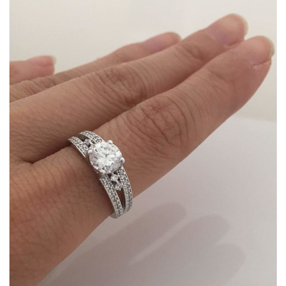 Rings $68.00 Split Shank Multi Stone Cz Engagement Ring - 1 Carat Cubic Zirconia Er Rhodium Wedding Engagement