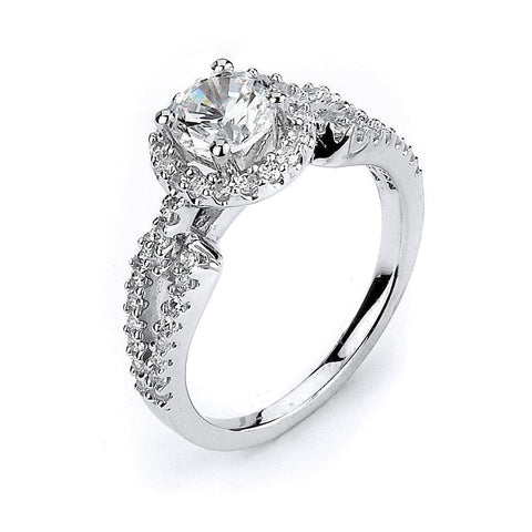 Rings $96.00 Split Shank With Halo Cz Engagement Ring - Sterling Silver 1 Carat Cubic Zirconia Er Halo Rhodium Wedding Engagement