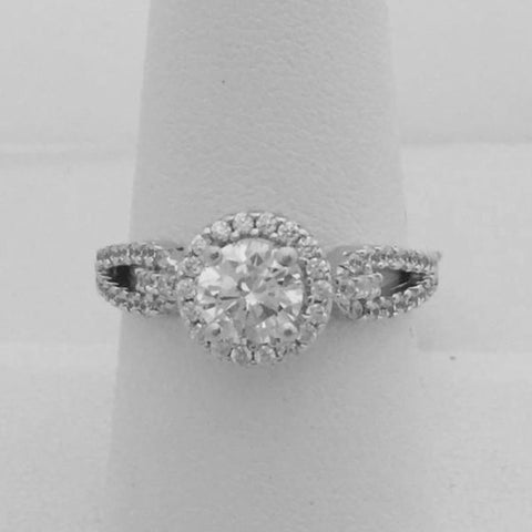 Image of Rings $96.00 Split Shank With Halo Cz Engagement Ring - Sterling Silver 1 Carat Cubic Zirconia Er Halo Rhodium Wedding Engagement